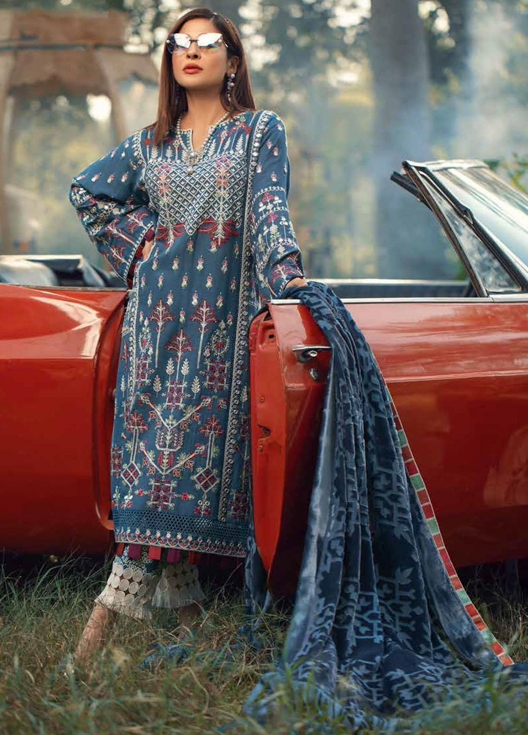 MARYAM HUSSAIN Winter Shawl Collection 2020-Tribal D05 most popular Pakistani outfits for evening wear and winter season in the UK, USA and France. These 3 pc unstitched, stitched & READY MADE Indian & Pakistani Suits are made from LAWN khaddar. Shop Designer Salwar Kameez by Maryam Hussain on SALE price at Lebaasonline