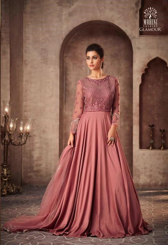 Rosy Pink Indian Party Gown by Mohini Glamour - 75006
