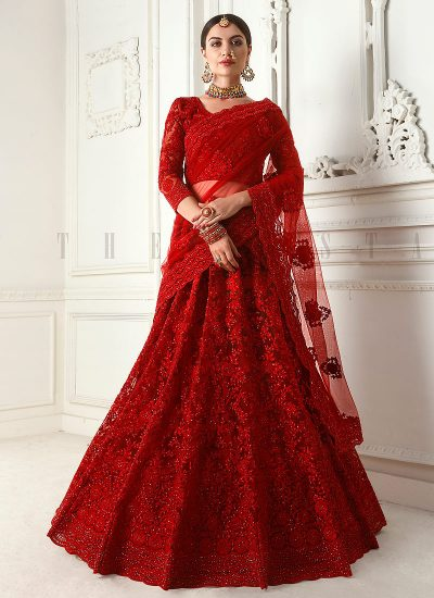 Bridal Red Embroidered Lehenga by Alizeh - LebaasOnline