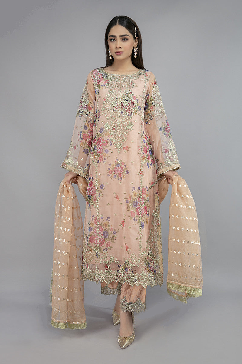 Buy Maria B Suit Peach SF-EA20-03 Ready to Wear and Stitched. Straight shirt with embroidered border and sleeves paired with tissue embroidered gharara and contrasting two toned foiled printed dupatta. Shop Now Maria B Ready To Wear Dresses for Pakistani Wedding & Party at LebaasOnline in the UK and USA at Best Price!