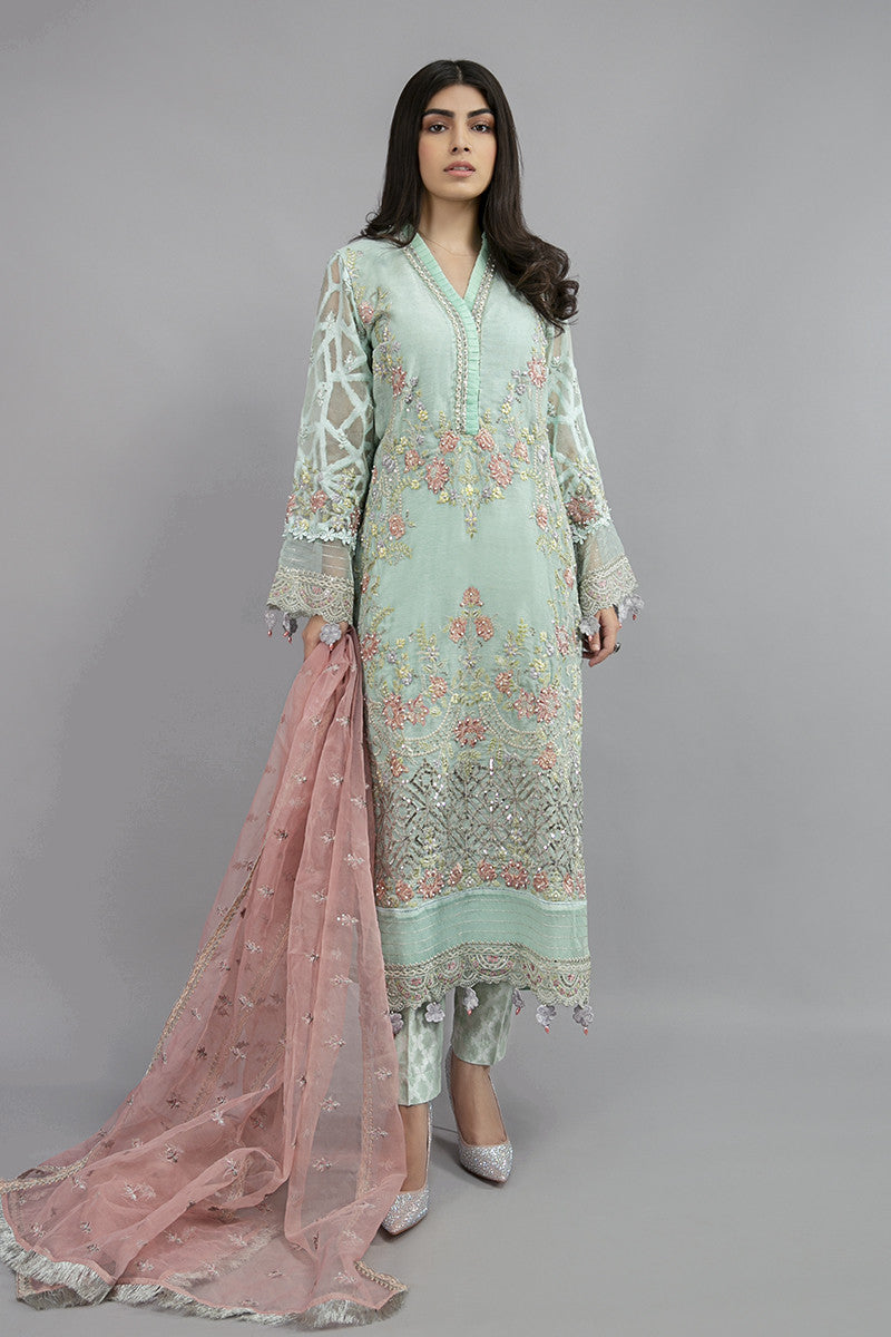 Suit Light Aqua SF-EA20-10 | Maria B Evening Wear | Maria B Winter Wear