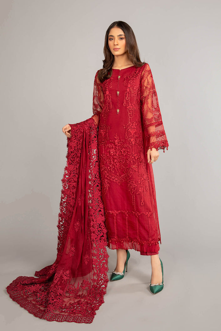 Buy Maria B Suit Red SF-EF21-19 Ready to Wear and Stitched. Straight shirt with embroidered border and sleeves paired with tissue embroidered gharara and contrast foiled printed dupatta. BUY MARIA B MPRINT EID DRESS, MARIA B M PRINT LAWN 2021 AT PAKISTANI DRESSES UK from LebaasOnline in UK & USA at best prices!