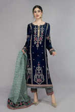 Load image into Gallery viewer, Buy Maria B Suit Blue SF-W20-12 Ready to Wear and Stitched. Straight shirt with embroidered border and sleeves paired with tissue embroidered gharara and contrasting two toned foiled printed dupatta. Shop Now Maria B Ready To Wear Dresses for Pakistani Wedding & Party at LebaasOnline in the UK and USA at Best Price!