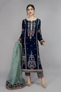 Buy Maria B Suit Blue SF-W20-12 Ready to Wear and Stitched. Straight shirt with embroidered border and sleeves paired with tissue embroidered gharara and contrasting two toned foiled printed dupatta. Shop Now Maria B Ready To Wear Dresses for Pakistani Wedding & Party at LebaasOnline in the UK and USA at Best Price!