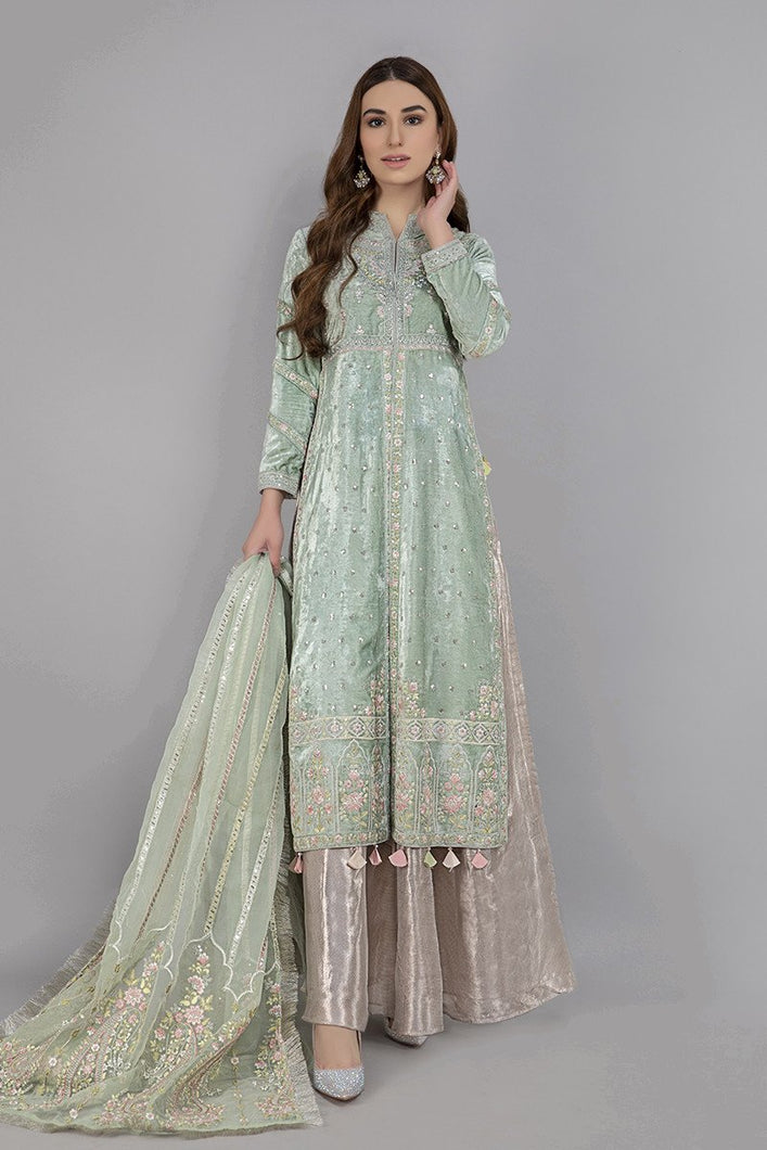 Buy Maria B Suit Sea Green SF-W20-22 Ready to Wear and Stitched. Straight shirt with embroidered border and sleeves paired with tissue embroidered gharara and contrast two toned foiled printed dupatta. Shop Now  Maria b original dress from Maria b boutique & Party at LebaasOnline in the UK and USA at Best Price!