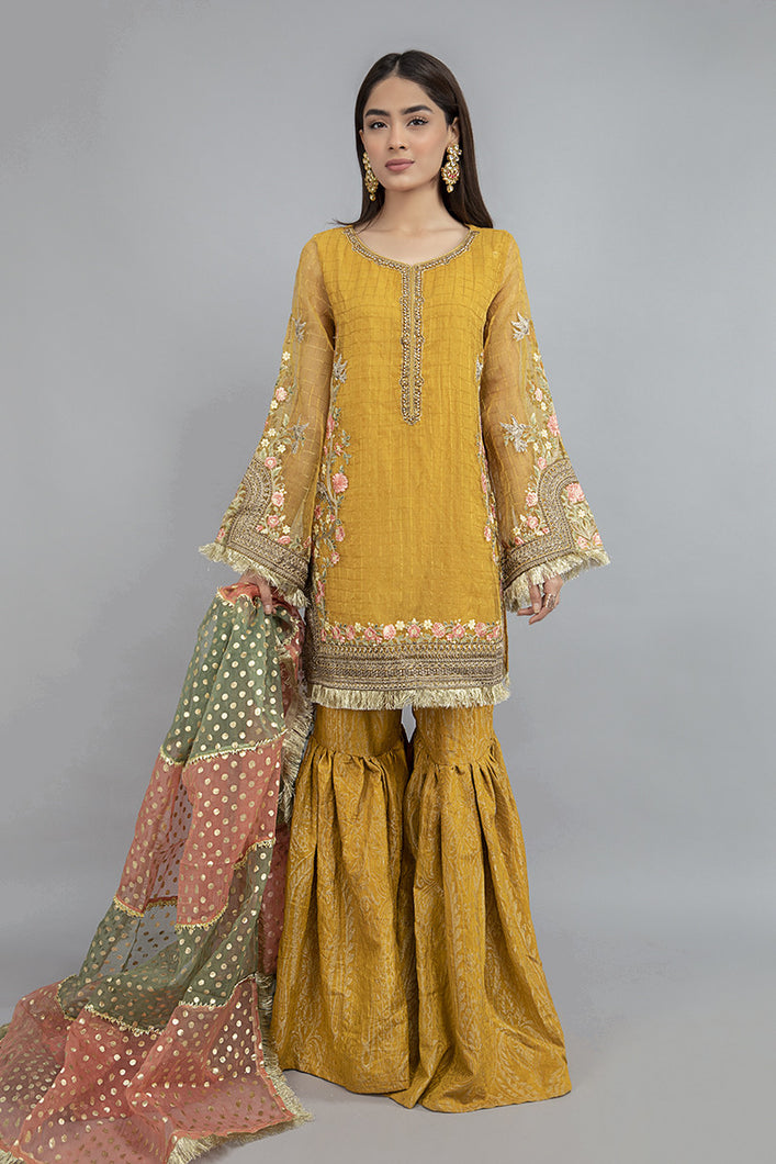Buy Maria B Suit Mustard SF-EF20-09 Ready to Wear and Stitched. Straight shirt with embroidered border and sleeves paired with tissue embroidered gharara and contrasting two toned foiled printed dupatta. Shop Now Maria B Ready To Wear Dresses for Pakistani Wedding & Party at LebaasOnline in the UK and USA at Best Price!