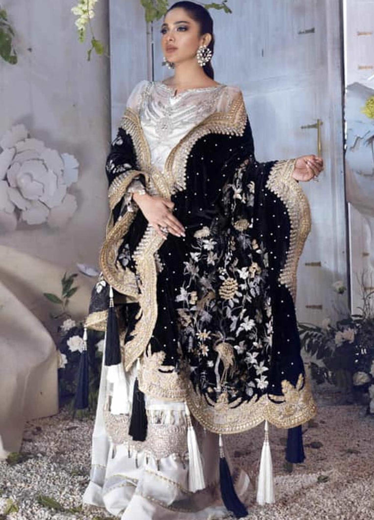 Shiza Hassan-Festive Luxe 2021- SH21LF 01 White Silver Suit For WEDDING NIKAH & EID. PAKISTANI DRESSES & READY MADE PAKISTANI CLOTHES UK. Buy Shiza Hassan UK Embroidered Collection, Original Pakistani Brand Clothing Unstitched & Stitched suits for Indian Pakistani women, Next Day Delivery in the UK. Express shipping to USA