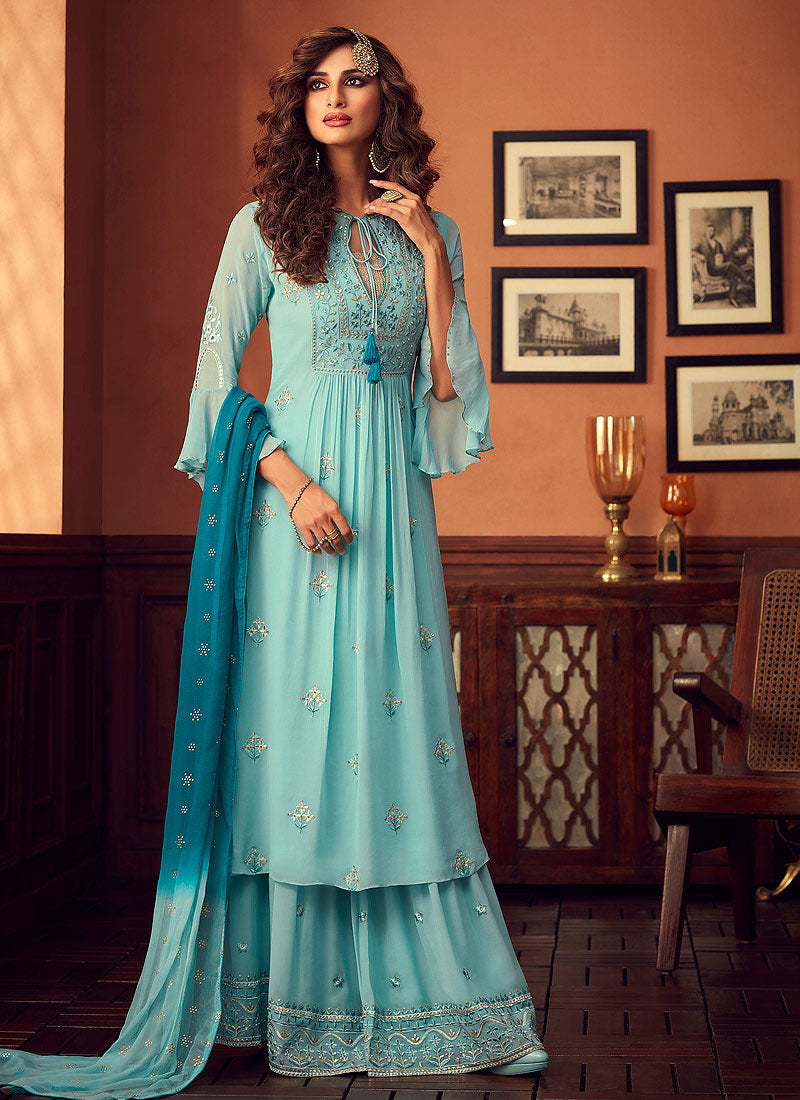 Designer Sharara Suit 2020 - Sky Blue by ZOYA Traditions