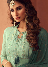 Load image into Gallery viewer, Designer Sharara Suit 2020 - Mint Green by ZOYA Traditions