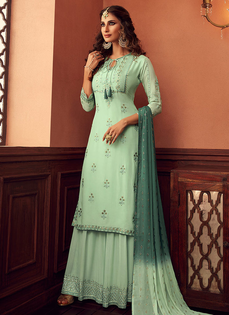 Designer Sharara Suit 2020 - Mint Green by ZOYA Traditions