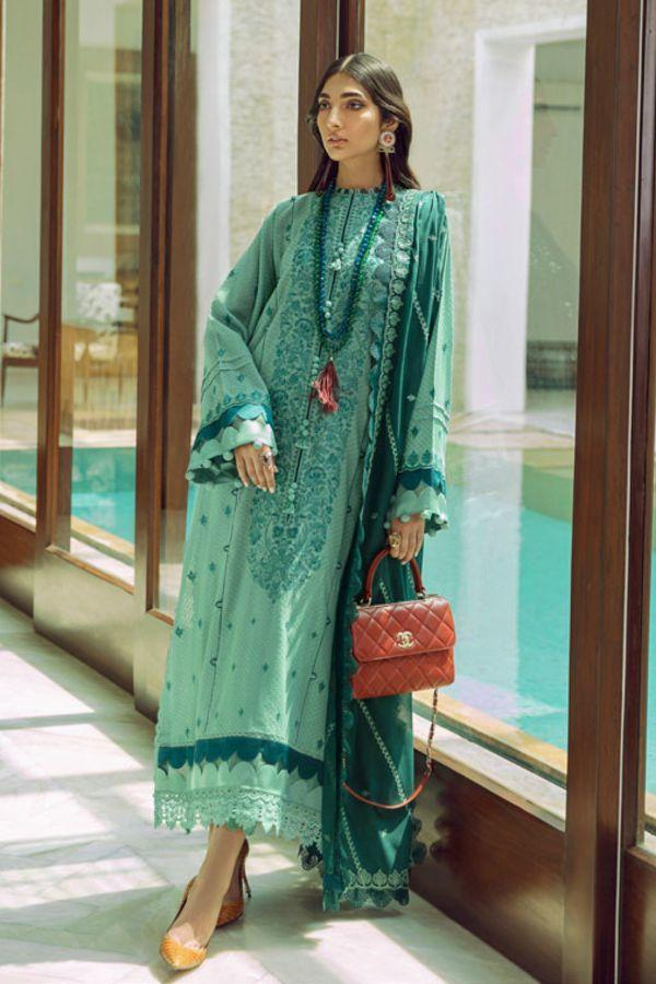Buy Zaha Lawn Indian Pakistani Designer Suit 2020 - AZBAH Online at Great Price in See Blue with White. A pastel hued beauty, 'Azbah' features embroidered florals in bloom on a dreamy periwinkle canvas. Book ready to wear/standard sizes or customise it at LebaasOnline