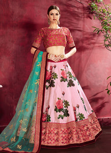 Rose Pink Embroidered + Floral Printed Lehenga