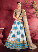 Load image into Gallery viewer, Beige and Cream Embroidered + Floral Printed Lehenga