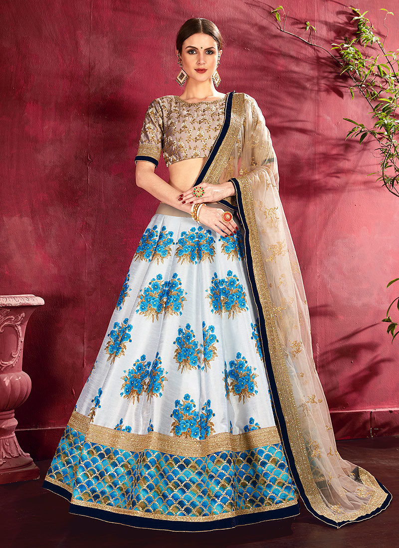 Beige and Cream Embroidered + Floral Printed Lehenga