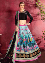 Load image into Gallery viewer, Black Multicolor Embroidered + Floral Printed Lehenga
