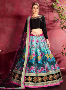 Black Multicolor Embroidered + Floral Printed Lehenga
