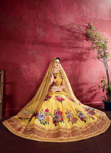 Load image into Gallery viewer, Yellow Embroidered + Floral Printed Lehenga