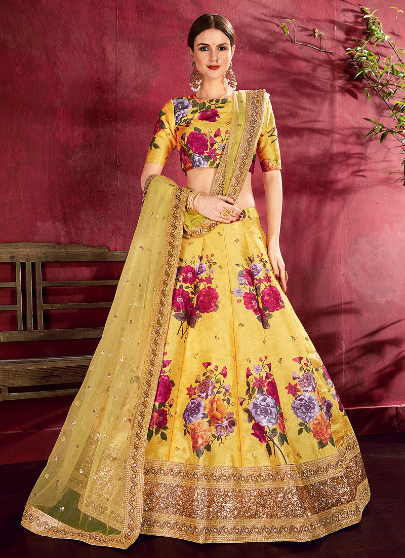 Yellow Embroidered + Floral Printed Lehenga