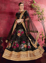 Load image into Gallery viewer, Black Embroidered + Floral Printed Lehenga