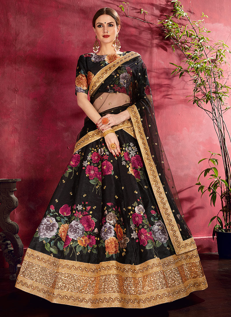 Black Embroidered + Floral Printed Lehenga