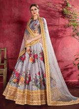 Load image into Gallery viewer, Grey Embroidered + Floral Printed Lehenga