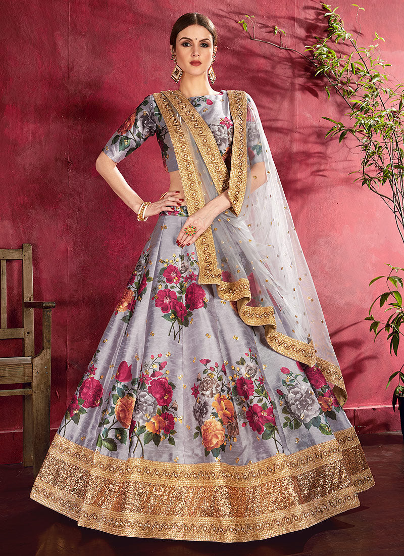 Grey Embroidered + Floral Printed Lehenga