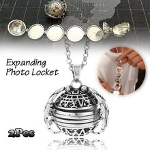 Load image into Gallery viewer, 5 Photo Pendant Locket Necklace Silver Ball Angel Wing Pendant