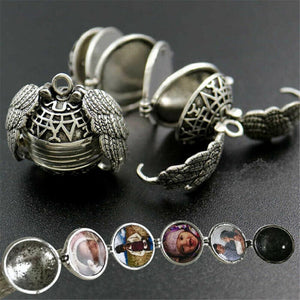 5 Photo Pendant Locket Necklace Silver Ball Angel Wing Pendant