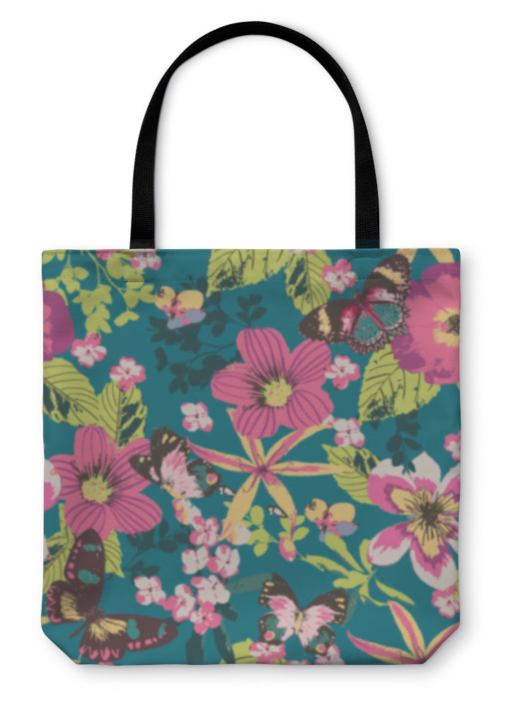 Tote Bag, Hibiscus Botanical Floral Tropical With Butterfly On Bule