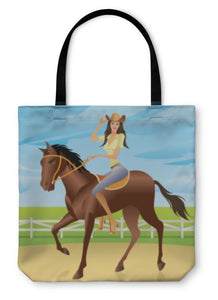 Tote Bag, Girl Is Riding A Horse In Western Style