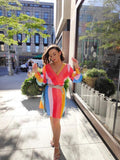 RENT Olivia Rubin Kylie Classic Rainbow Sequin Mini Dress