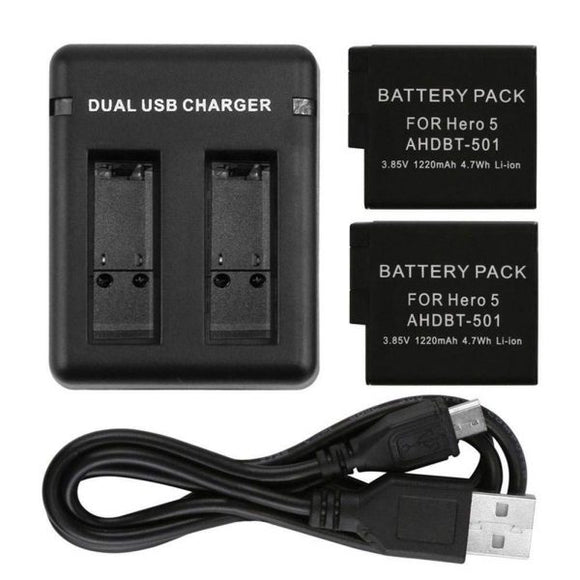 Optodio Replacement Battery (2 Pack) and 2 Channel Charger for GoPro HERO 7/6/5