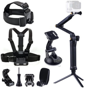 Smatree 9-in-1 Go Pro Accessories Kit with 3 Way Adjustable Tripod Pole for Gopro HD Hero 7/6/5/4/3+/3 Camera