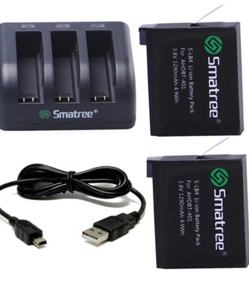 Smatree SM-004 1290mAh Li-ion Battery and 3-Channel Charger for GoPro Hero4 Silver Black