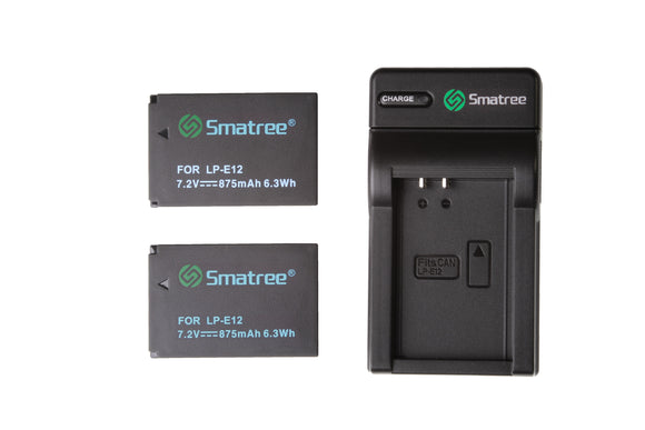 Smatree Replacement Battery(2-Pack) and Battery Charger for Canon LP-E12