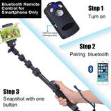 Smatree SmaPole Y3 Selfie Stick for Cell Phones, Action Cameras and Compact Cameras, with Remote Shutter for Smartphones