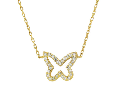 Golden Sparkling Open Butterfly Necklace