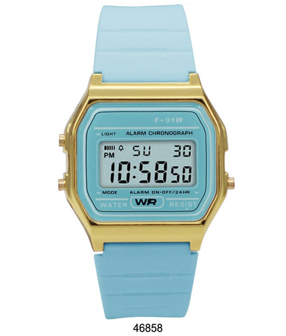 Sporty Light Blue Silicon Digital Watch