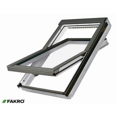 FAKRO FTU-V P2 White PU Coated Pine Ctr Pivot Window - All Sizes Roof Windows