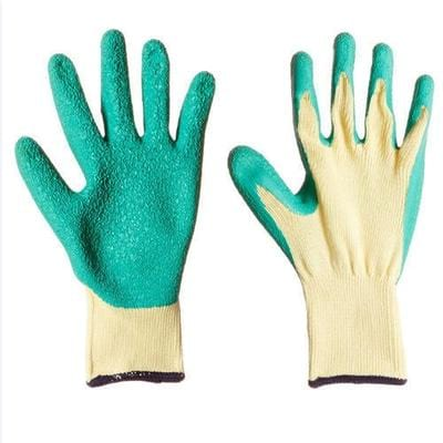 pair of standard gloves with green and yellow color