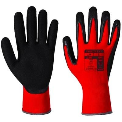 pair of coated gloves in black and red color