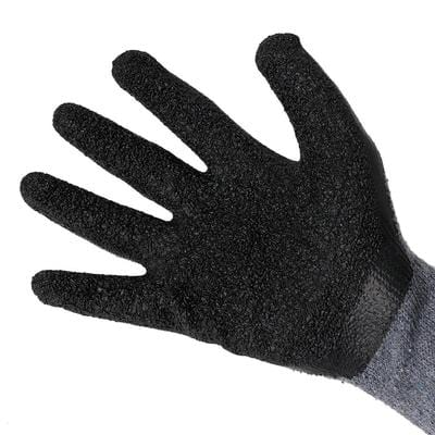 open palm with black hand glove on