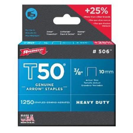 Arrow T50 Staples to Suit Above Size 3/8 - 10mm Hand Tool Accessories