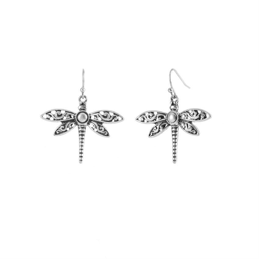 Antique Silver Dragonfly Dangle Earrings