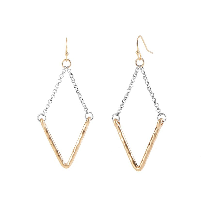 Gold V Dangle with Chain Earrings