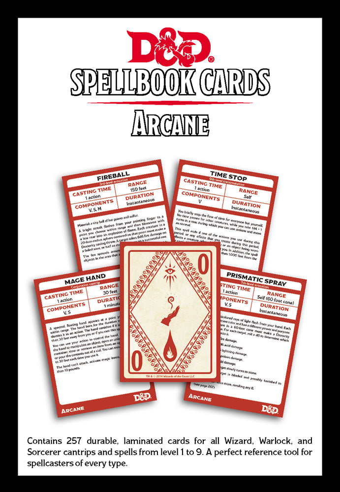Arcane Spell Deck (revised): Dungeons and Dragons 5th Edition   F