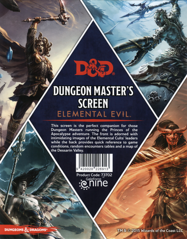 Elemental Evil - DM Screen - Dungeons and Dragons 5e - 5th Edition