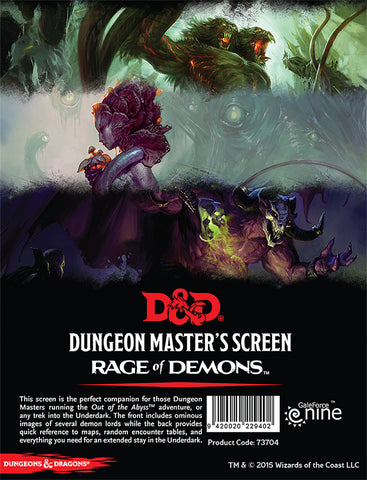 Rage of Demons - DM Screen - Dungeons and Dragons