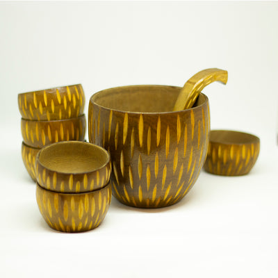 yesterday wooden tureen bowl set - een stip