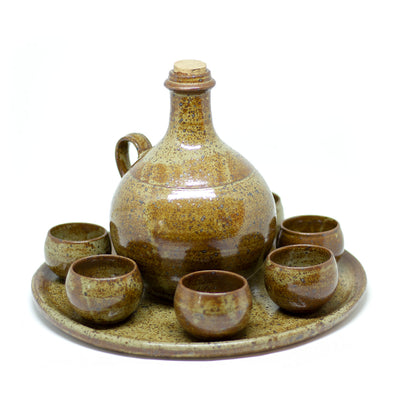 yesterday handmade ceramic drinking set with sever cups - een stip